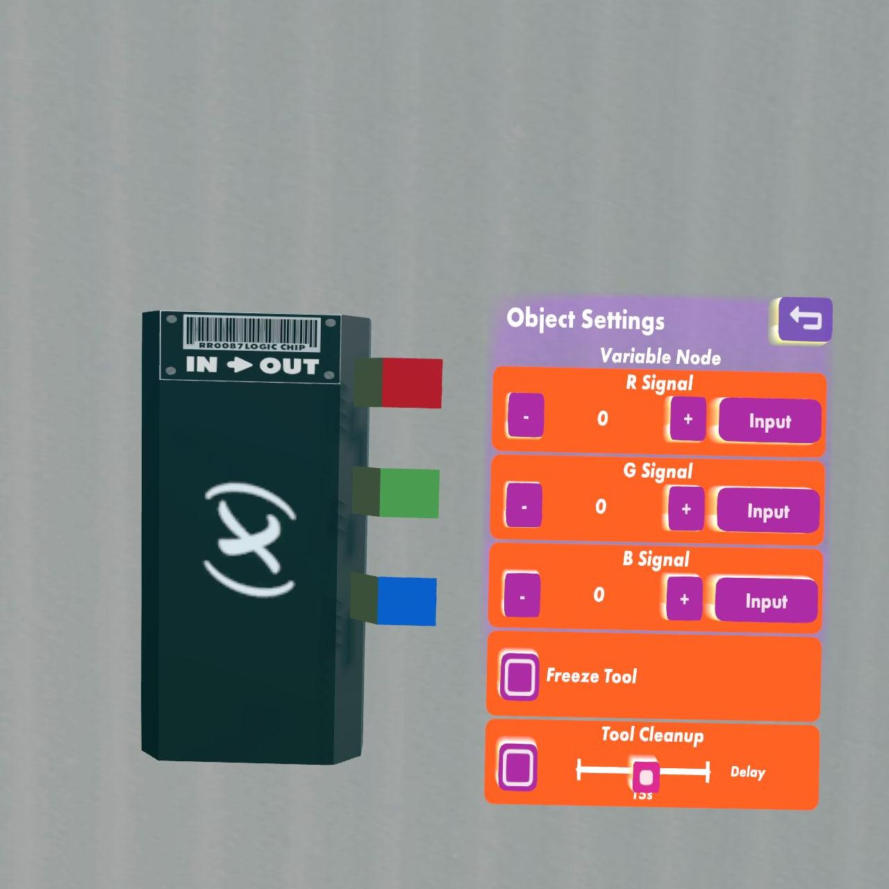 Chips Rec Room Wiki Fandom Powered By Wikia Circuit Is Correct Or Not And Thisalso Will Display The Output Like In Variable Hold Three Integer Numbers That Are Available As On Pins Right Side You Can Set Values With Settings Tool Of