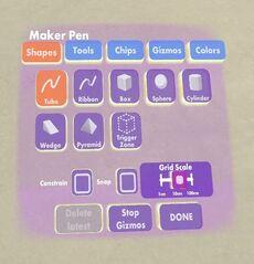 Maker pen shapes tab