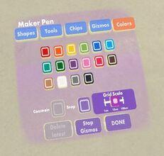 Maker pen colors tab