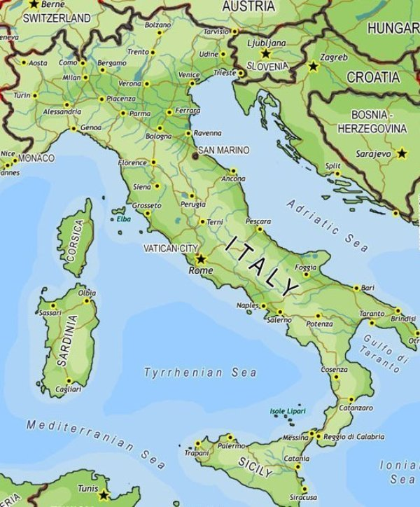 Image Map Of Italyjpg Recipes Wiki FANDOM Powered By Wikia - Map of italy physical