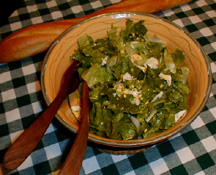 Warm Chicory Salad with Sweet Garlic, Croutons, Bacon & Roqu