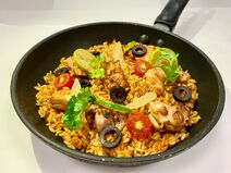 Skillet Chicken with orzo, lemon, olives-5-