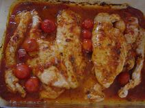 Turkey breast in a paprika and tomato sauce
