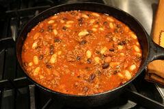 Chili in pot close
