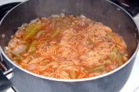 Beefy spaghetti soup