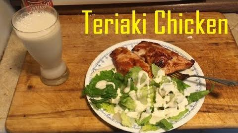Healthy Lunch! Salad Teriyaki Chicken and Almond Milk