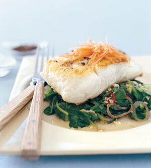 Mare grilled halibut with tatsoi and spicy thai chiles v