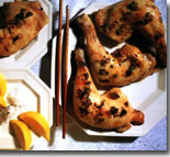Spicy barbecued chicken legs