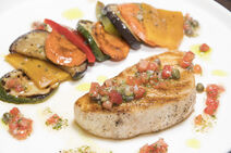 Seared Butterfish with Grilled Vegetables & Lemon Caper Dressing-5-