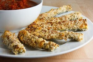 Parmesan Crusted Baked Zucchini Sticks with Marinara Sauce 500