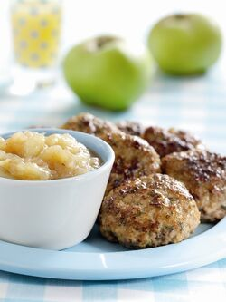 Juicy Pork Patties with Spicy Bramley Apple Sauce image