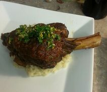 Braised lamb shanks on risotto (20264854002)