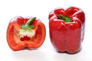 Red capsicum and cross section