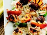 Chicken and Fruit Kabobs with Mustard-Leek Sauce