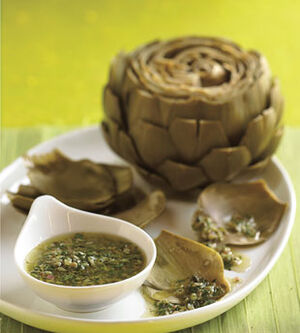 Mare steamed artichokes with salsa verde v
