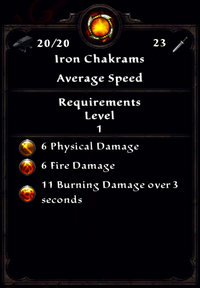 Fire Iron Chakrams Inventory