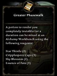Greater Phasewalk Recipe card