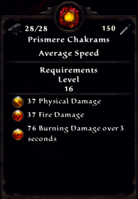 Fire Prismere Chakrams Inventory