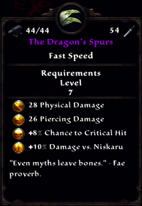 The Dragon's Spurs Inventory