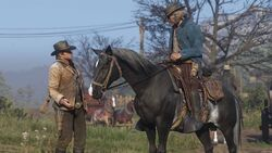 RDR2 talking to man on horse