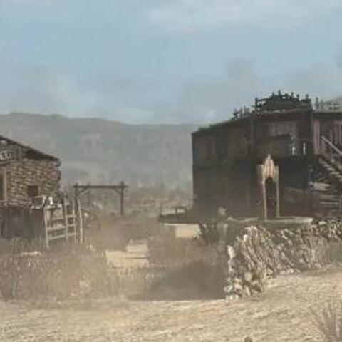 Das Gefängnis und der Saloon im Ort in Red Dead Redemption