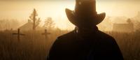 Arthur walking away from graves