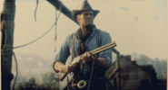 Arthur Morgan holding Litchfield Repeater RD2