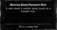 Murfree Brood Prisoner's Note satchel description