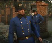 Arthur & Dutch disguised as Saint Denis Policemen