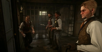 Jock Gray, Archibald MacGregor, Leigh Gray and an unnamed deputy before coming out of the Sheriff Office