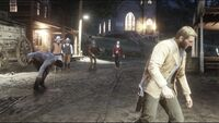 Jeb with lawmen to arrest Arthur and Lenny
