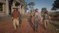 Micah, Arthur, Sean and Bill near the bank in Rhodes