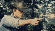 Arthur Morgan holding cattleman revolver RDR2