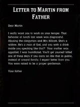 Letter to Martin from Father content