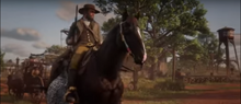 Morgan riding through Rhodes