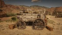 Wagon full of crates guarded by one of the NPCs at Twin Rocks