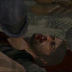 Abigail junto al cuerpo sin vida de John.