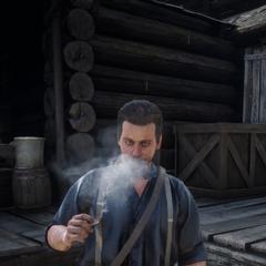 Un soldat fumant
