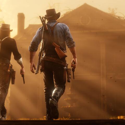 Arthur et John devant le manoir