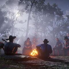 La bande au tour d'un feu de camp