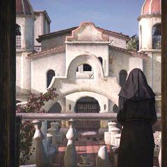 Une sœur à un balcon.