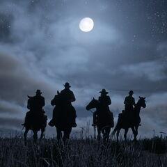 quatre cavaliers pendant la nuit