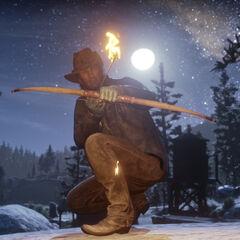 L'arc avec une flèche enflammée