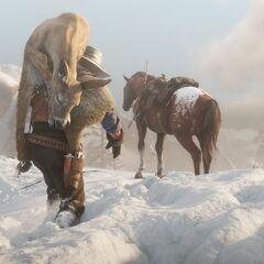 Arthur ramenant du gibier sur sa monture
