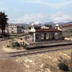 La gare à l'extérieur du couvent, avec une diligence à gauche de l'image.