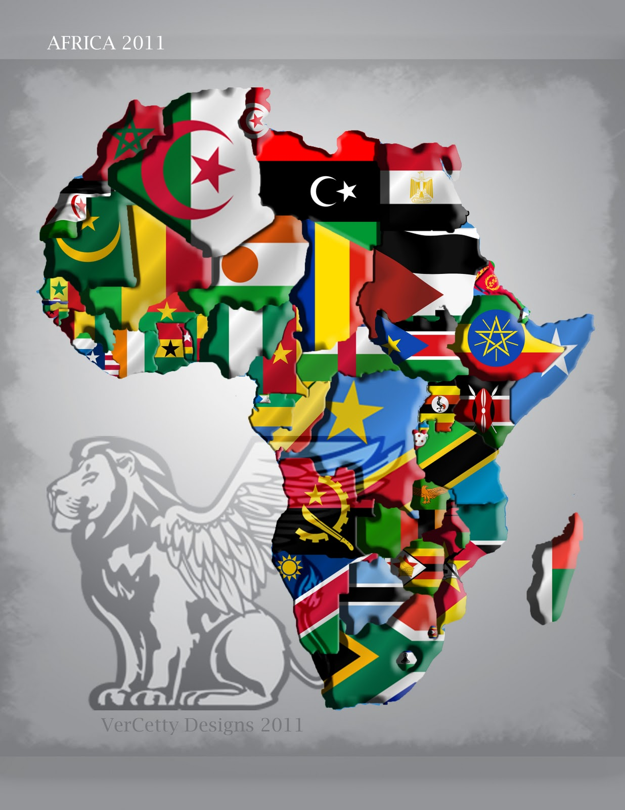 Map Of Africa With Flags.Africa Map Flags