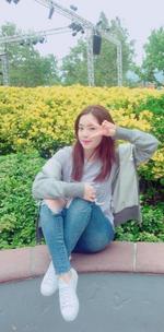 Irene next to flowers 2