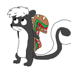 Sonja the skunk, another one of her former forms.