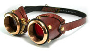 Steampunk goggles saddle brown leather by ambassadormann-d59c80o