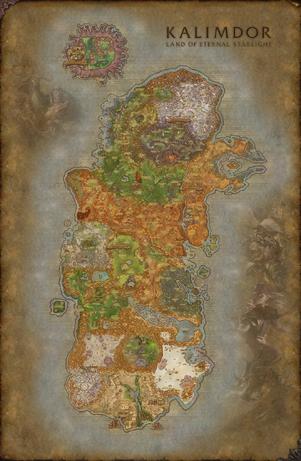 World of warcraft kalimdor map fanart by solarieldawnstar-d9pbr2g